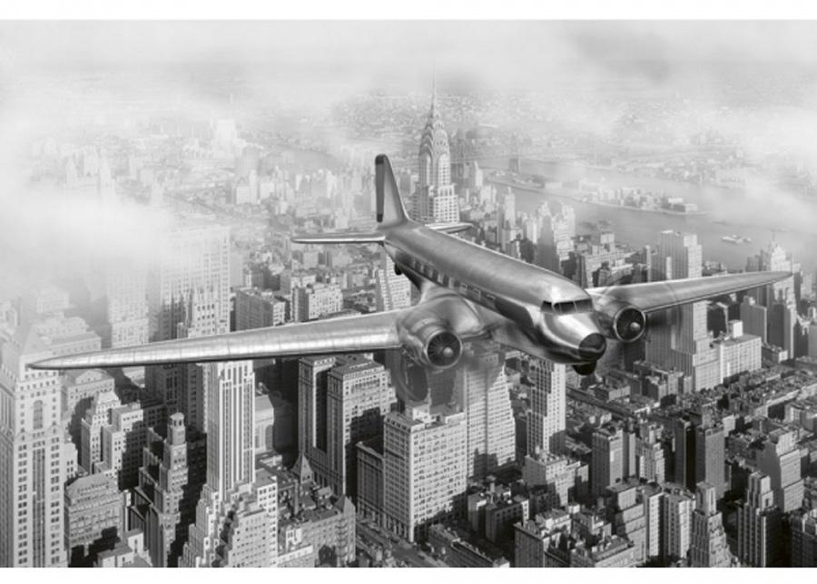 Fleece-kuvatapetti Airplane 150x250 cm