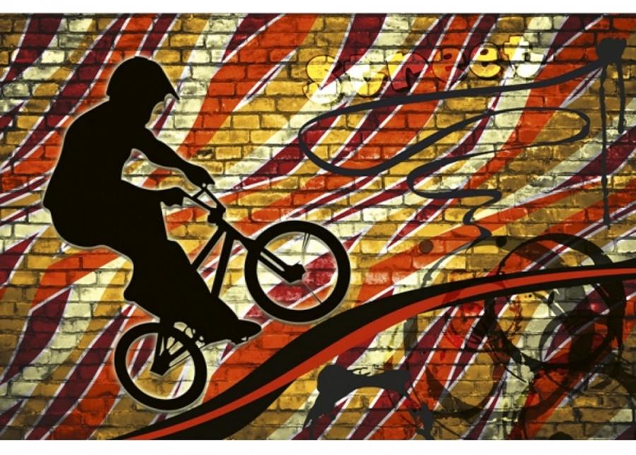 Fleece-kuvatapetti Bicycle red 375x150 cm