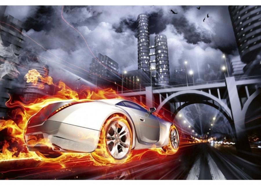 Fleece-kuvatapetti Car in flames 225x250 cm