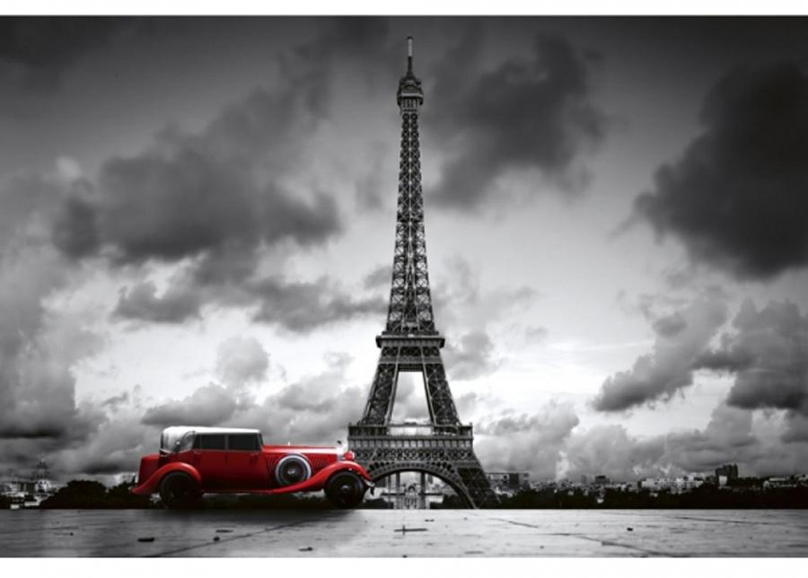 Fleece-kuvatapetti Retro car in paris 375x250 cm