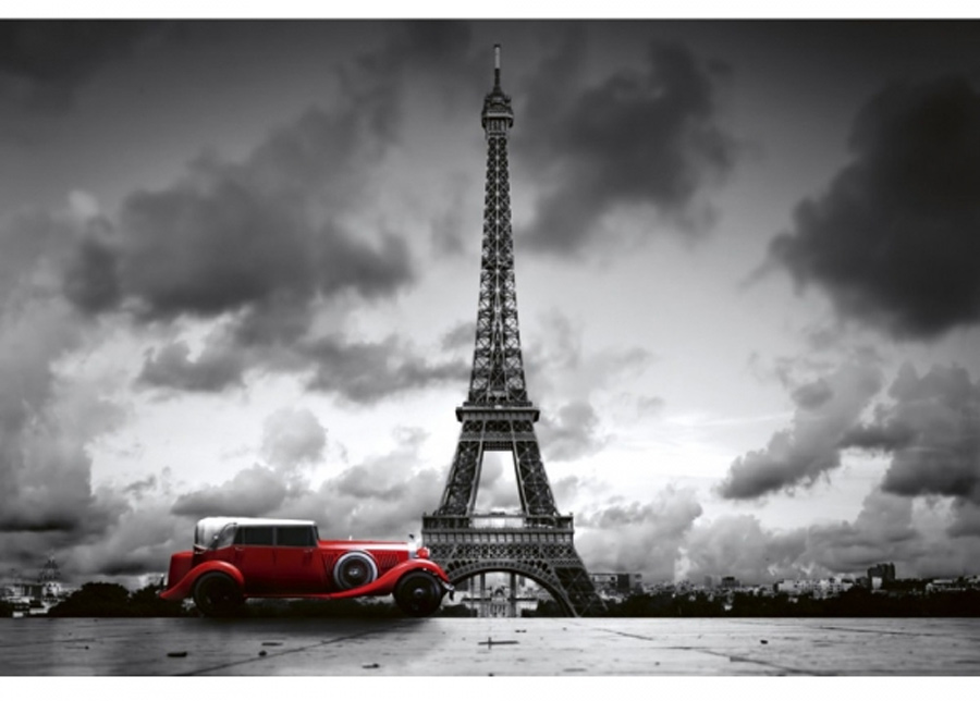 Fleece-kuvatapetti Retro car in paris 150x250 cm