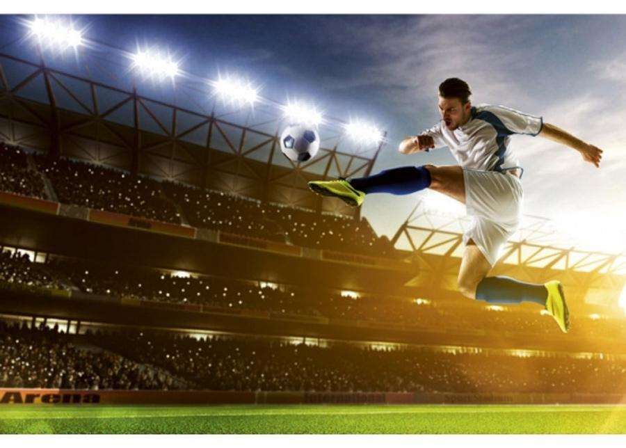 Fleece-kuvatapetti Soccer player 150x250 cm