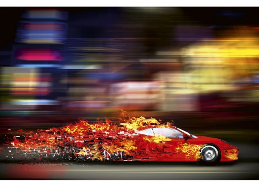 Fleece-kuvatapetti Speeding car 375x250 cm