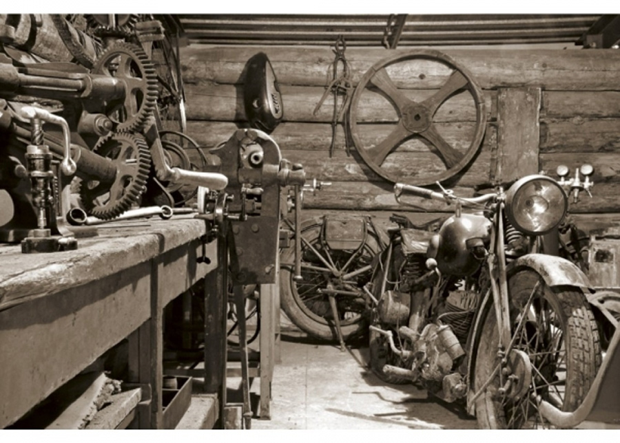 Fleece-kuvatapetti Vintage garage 375x250 cm