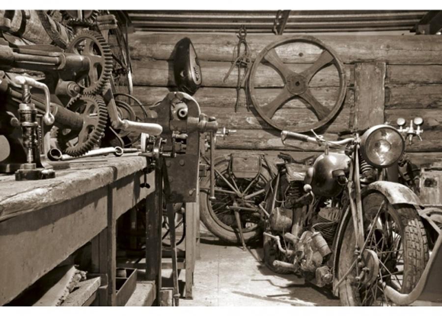 Fleece-kuvatapetti Vintage garage 150x250 cm