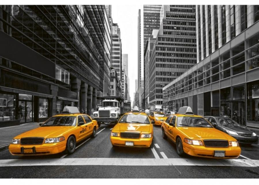 Fleece-kuvatapetti Yellow taxi 375x150 cm
