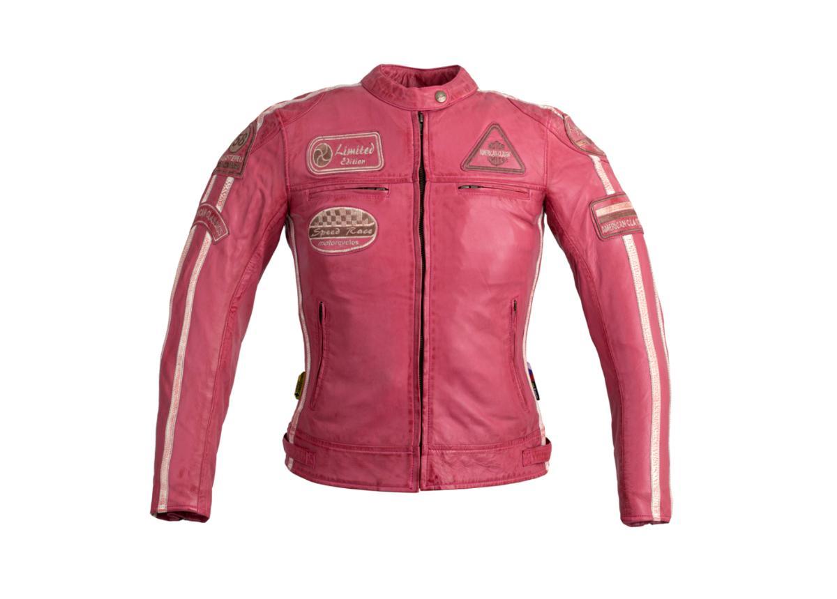 Naisten nahkainen moottoripyörätakki W-TEC Sheawen roosa