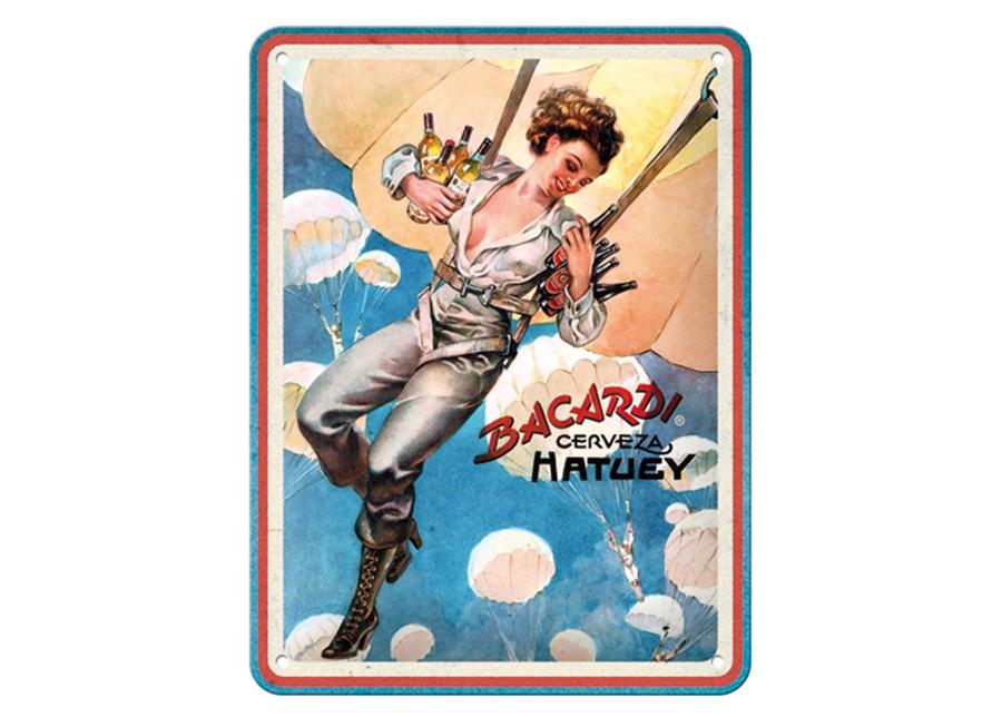 Retro metallijuliste Bacardi - Cerveza Hatuey Pin Up Girl 15x20 cm