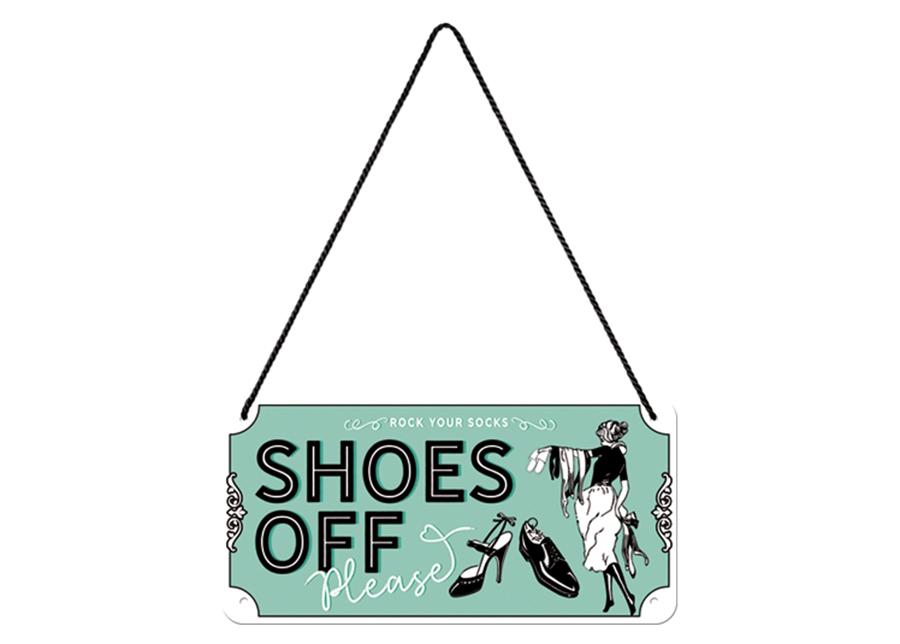 Retro metallijuliste Shoes Off 10x20 cm