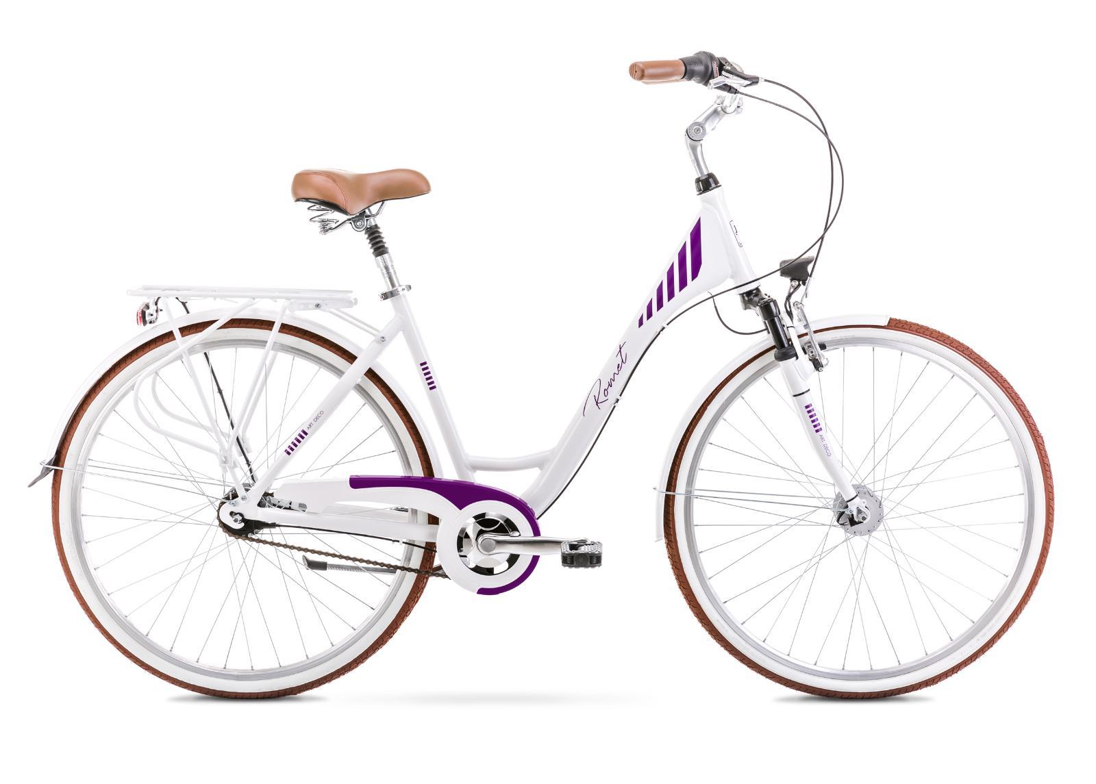 Naisten kaupunkipyörä 19 L ART DECO 7 valkoinen-violetti