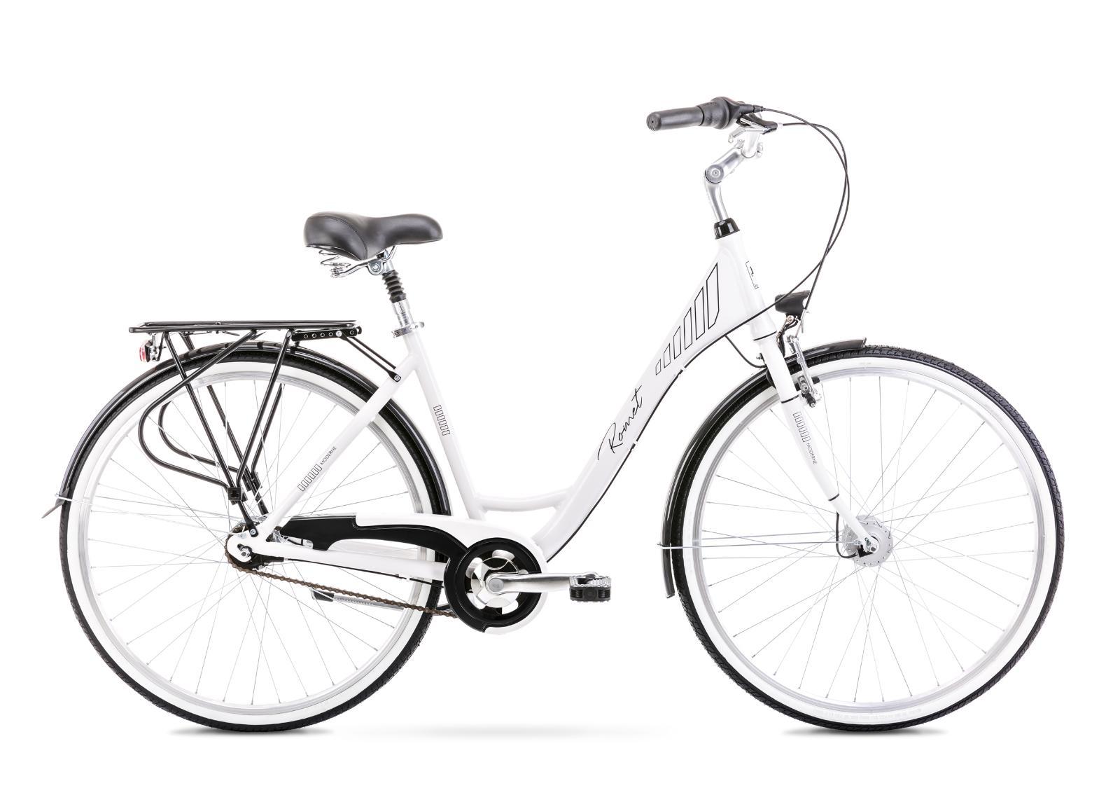 Naisten kaupunkipyörä 19 L MODERNE 7 valkoinen-musta