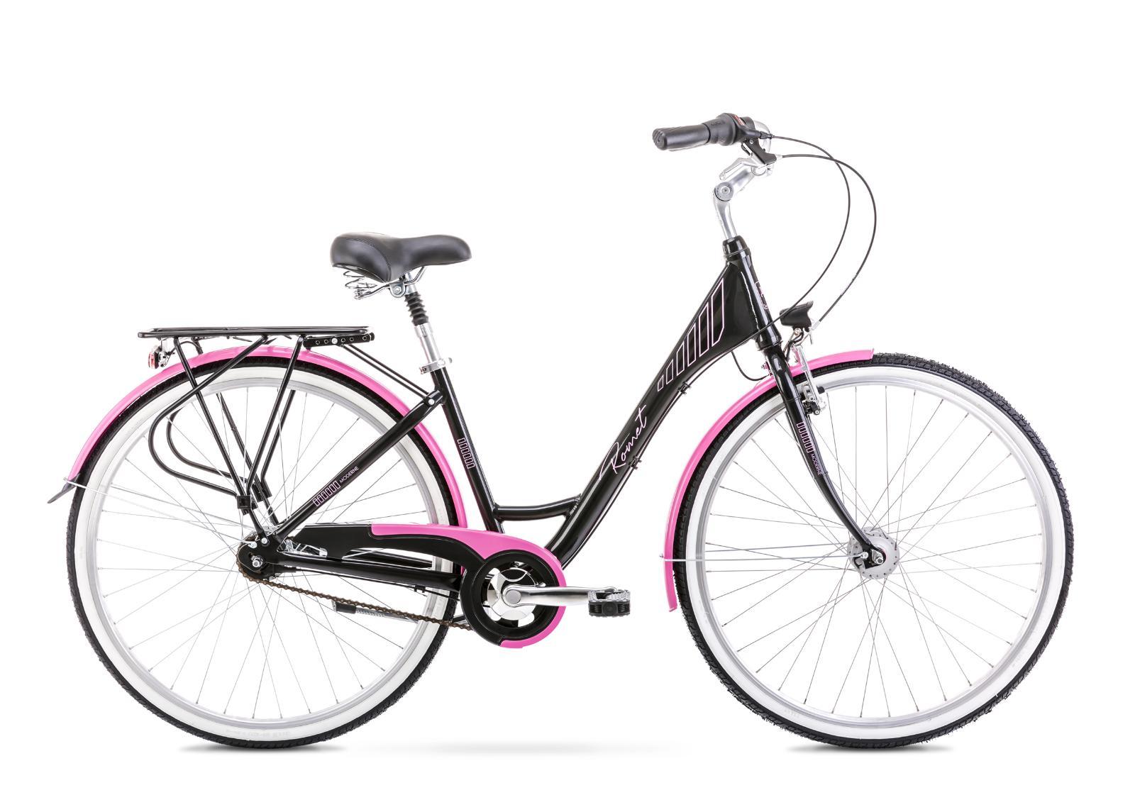 Naisten kaupunkipyörä 17 M MODERNE 7 musta-roosa