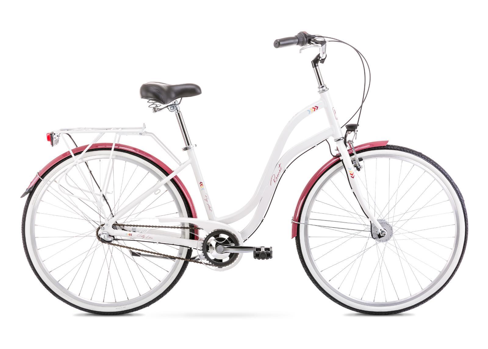 Naisten kaupunkipyörä 19 L POP ART 28 valkoinen-burgundy