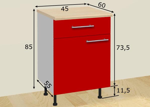 Baltest alakaappi ovella ja laatikolla 45 cm