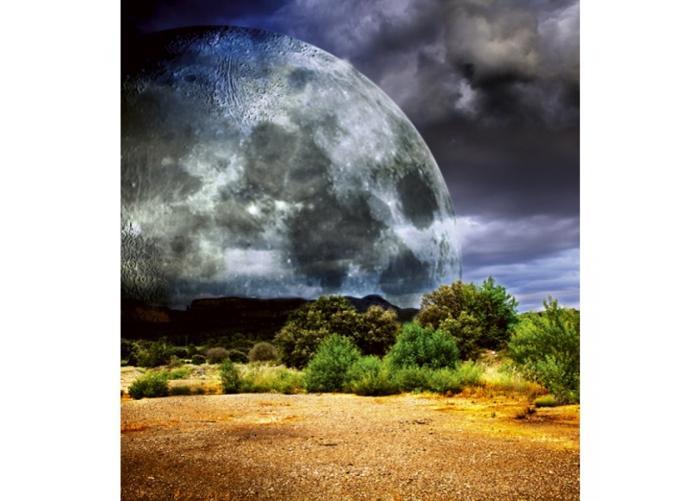 Fleece-kuvatapetti Moon 225x250 cm
