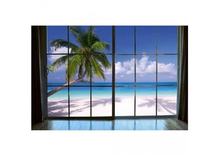 Fleece-kuvatapetti Beach window view 375x250 cm