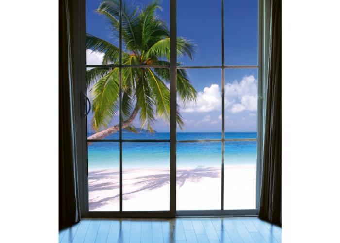 Fleece-kuvatapetti Beach window view 225x250 cm