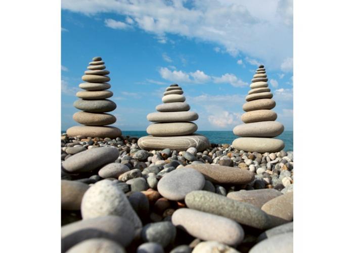 Fleece-kuvatapetti Stack of stones 225x250 cm