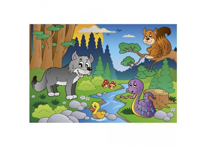 Fleece kuvatapetti Forest animals 375x250 cm