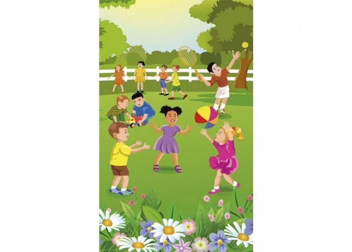 Fleece kuvatapetti Kids in garden 150x250 cm