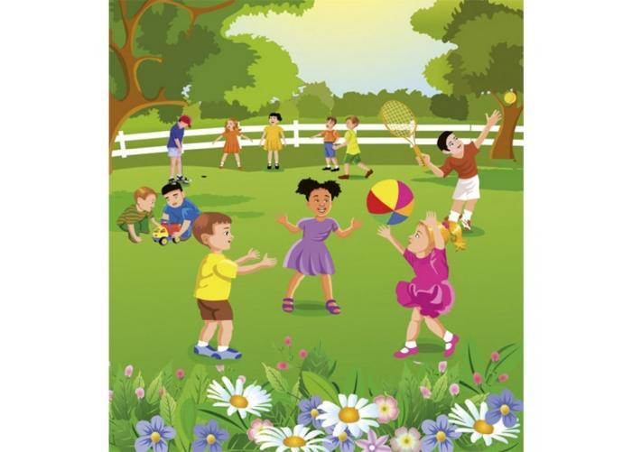 Fleece-kuvatapetti Kids in garden 225x250 cm