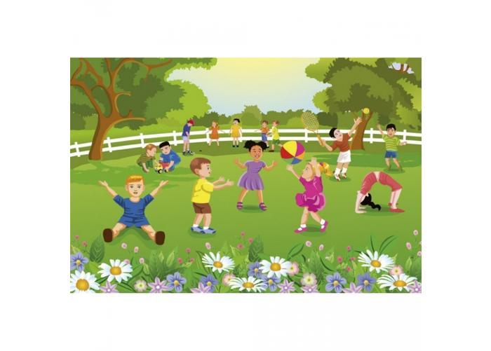 Fleece-kuvatapetti Kids in garden 375x250 cm
