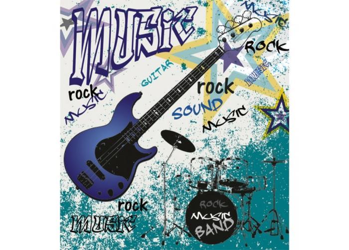 Fleece kuvatapetti Blue guitar 225x250 cm