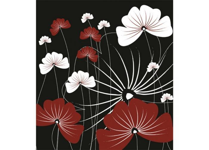 Fleece kuvatapetti Flowers on black 225x250 cm