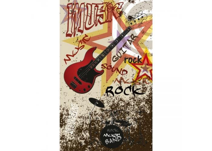 Fleece kuvatapetti Red guitar 150x250 cm