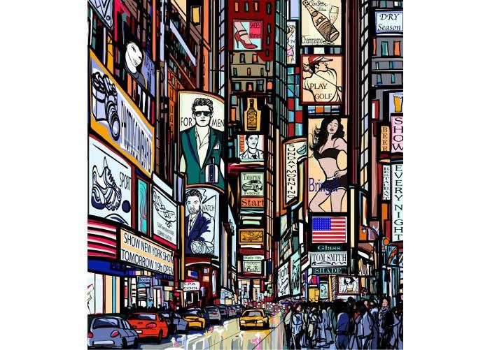 Fleece kuvatapetti Times Square 225x250 cm