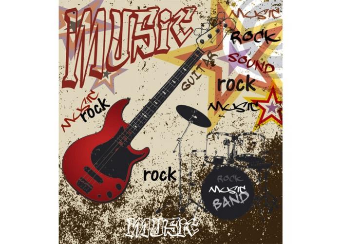 Fleece kuvatapetti Red guitar 225x250 cm