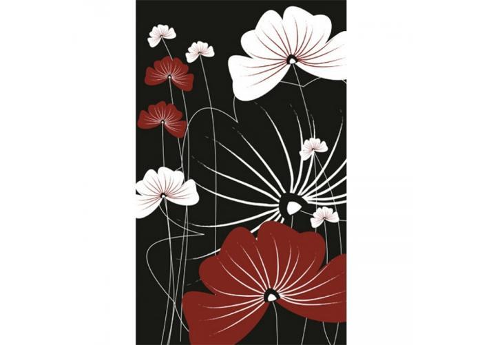 Fleece-kuvatapetti Flowers on black 150x250 cm