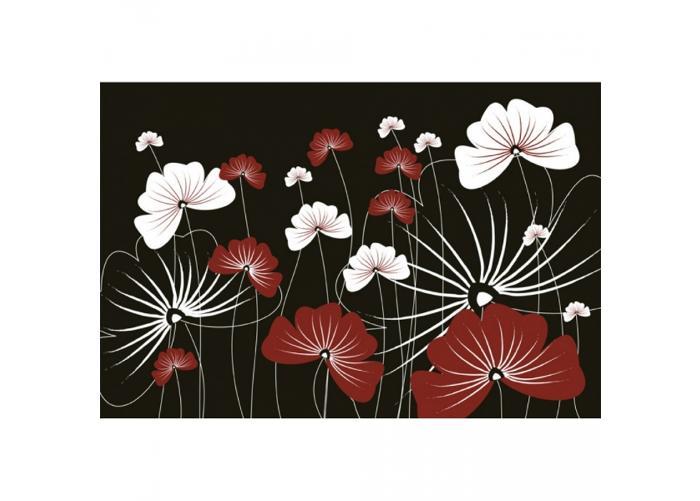 Fleece-kuvatapetti Flowers on black 375x250 cm