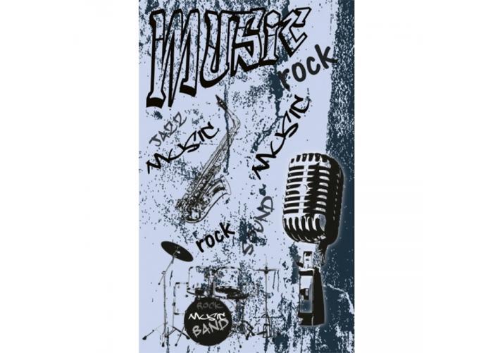 Fleece-kuvatapetti Music blue 150x250 cm