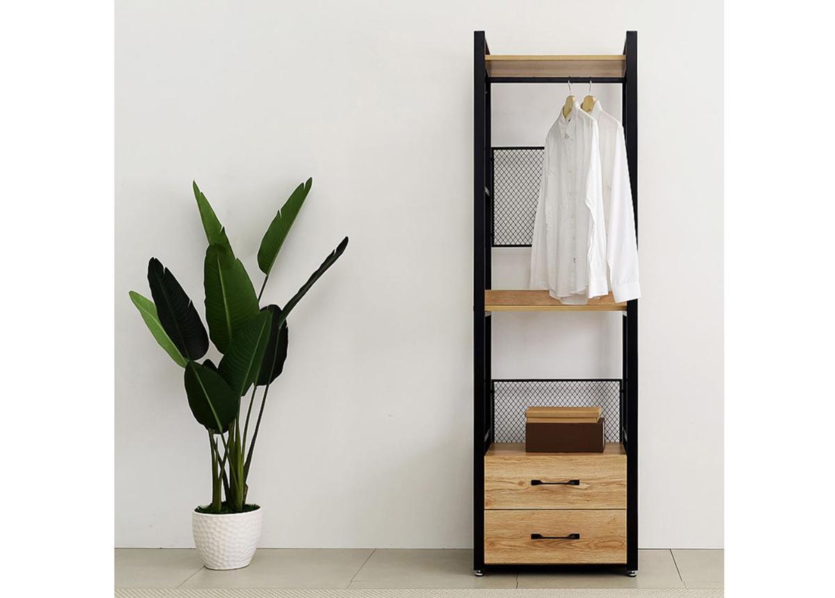 Vaatekaappijärjestelmä (2 hyllyä + 2 vaatetankoa + laatikosto) 60x200 cm