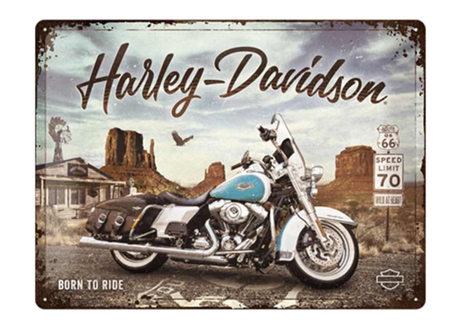 Retrotyylinen metallijuliste Harley Davidson - Route 66 Road King Classic 30x40 cm
