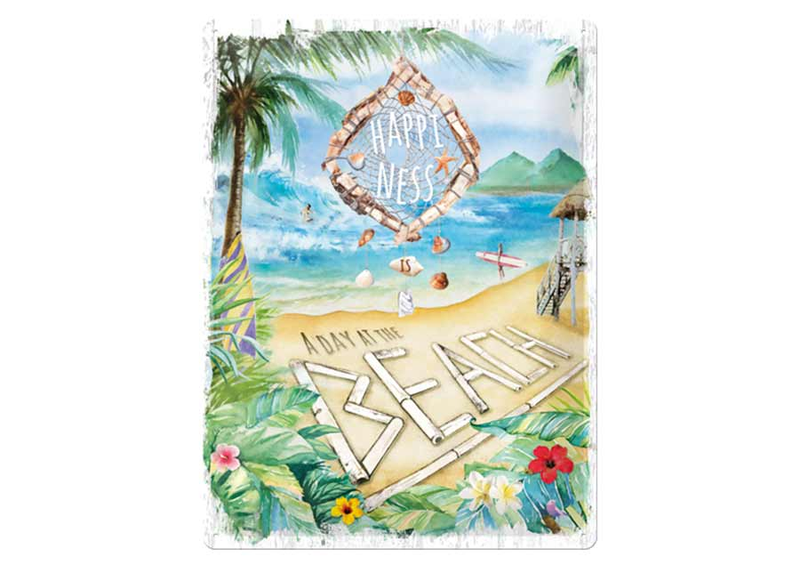 Retrotyylinen metallijuliste Happiness is a day at the beach 30x40 cm