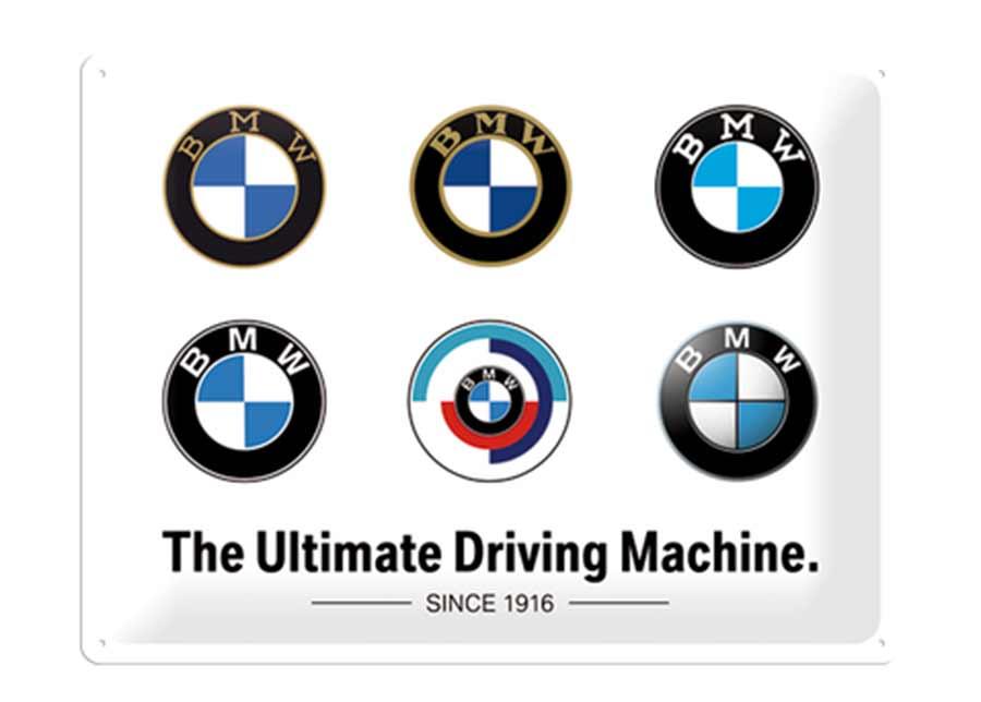Retrotyylinen metallijuliste BMW - Logo Evolution 30x40 cm