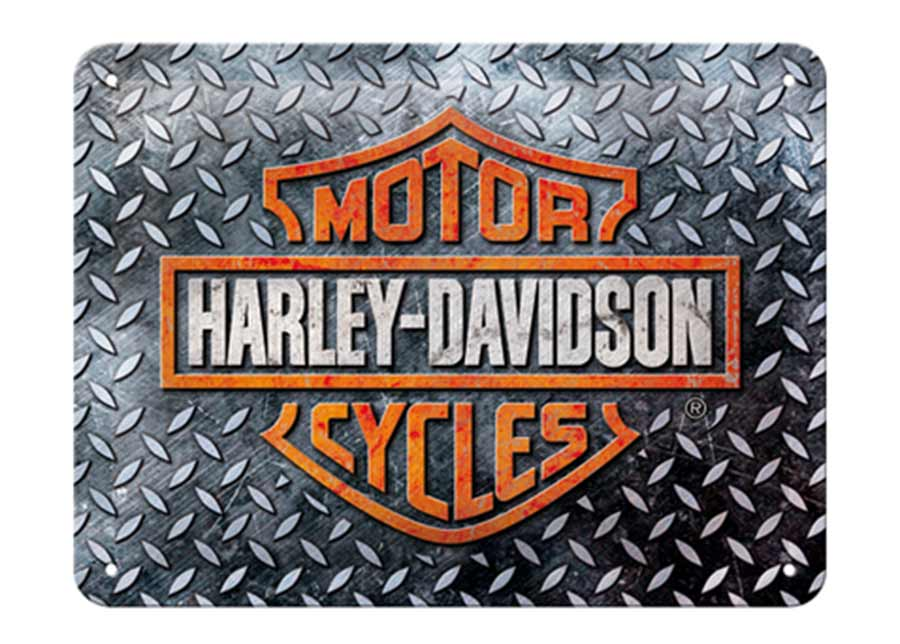 Retro metallijuliste Harley-Davidson - Diamond Plate 15x20 cm