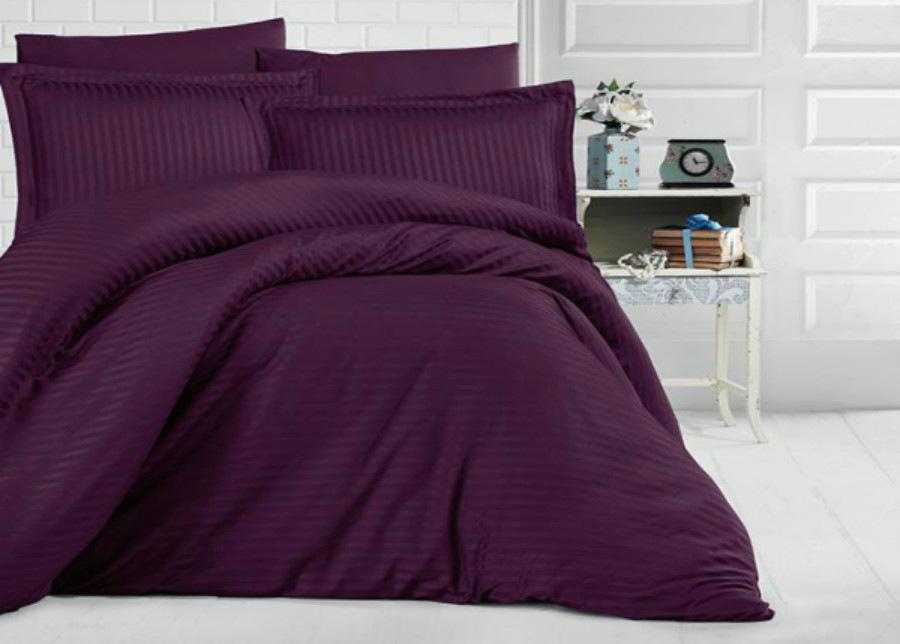 Satiini pussilakanasetti Uni Purple 160x220 cm