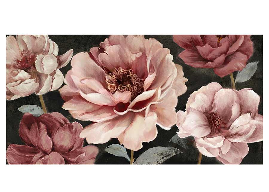 Öljymaalaus Vaaleanpunaiset kukat 70x150 cm