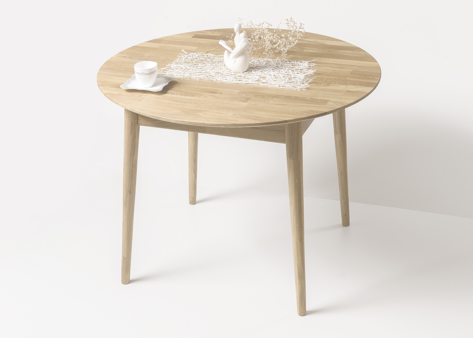 Tammi jatkettava ruokapöytä Scan 100/130x100 cm, valkoinen öljy