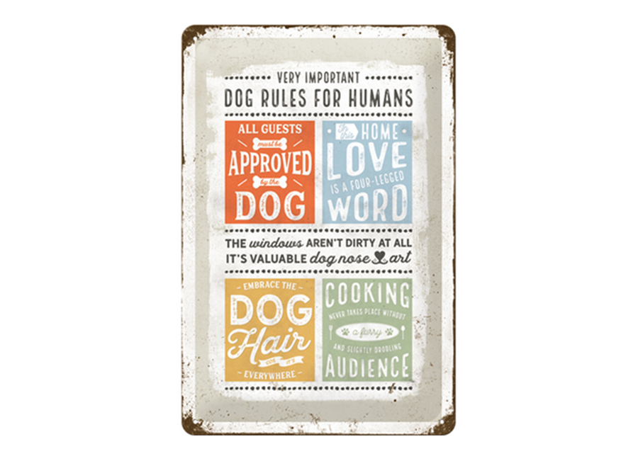 Retro metallijuliste Dog rules for humans 20x30 cm