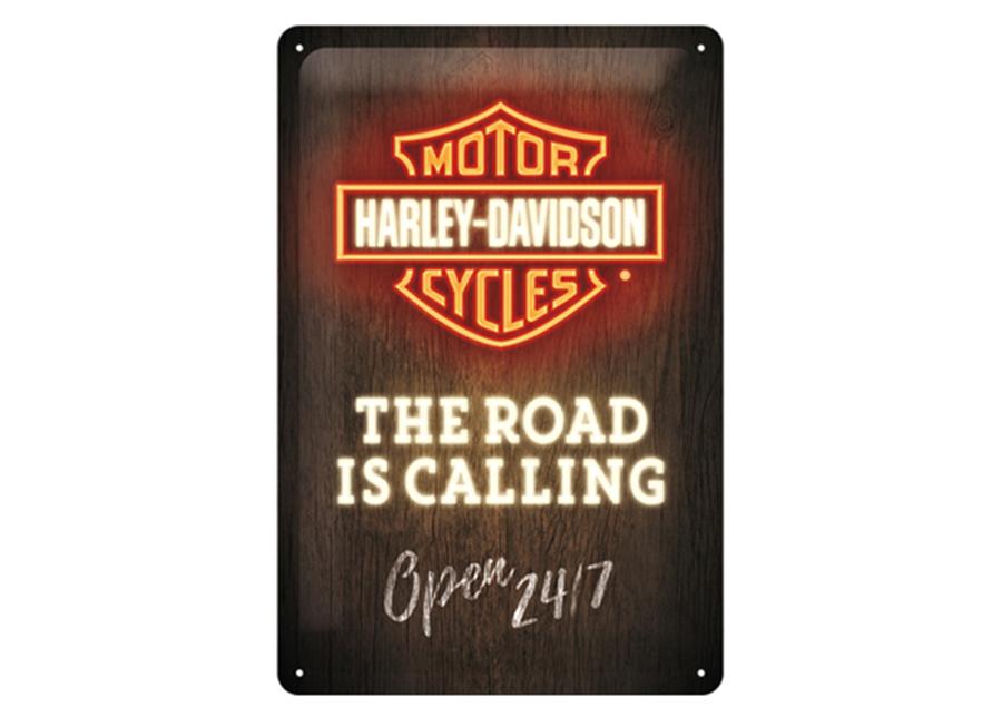 Retro metallijuliste Harley-Davidson - Road is Calling 20x30 cm