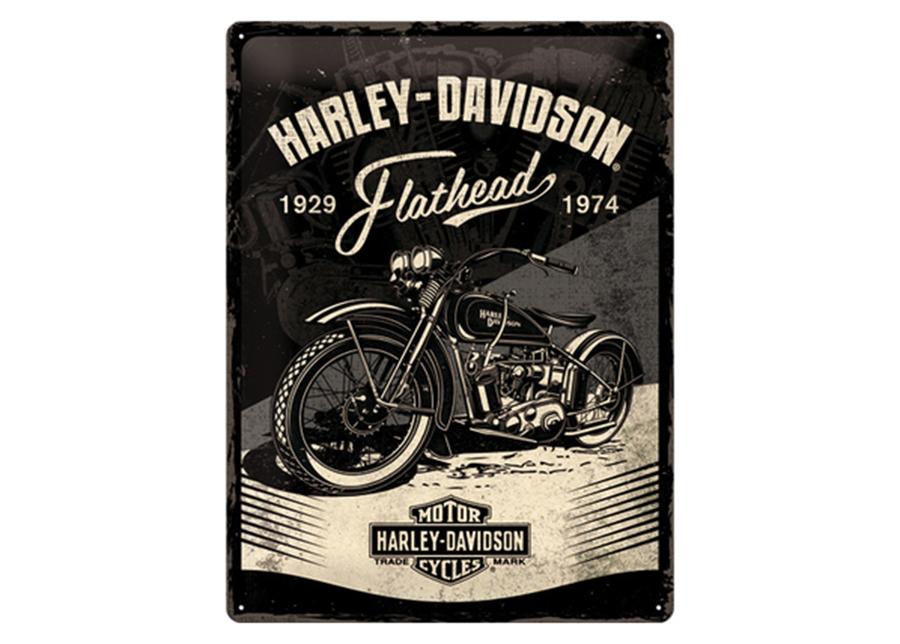 Retro metallijuliste Harley-Davidson - Flathead Black 30x40 cm
