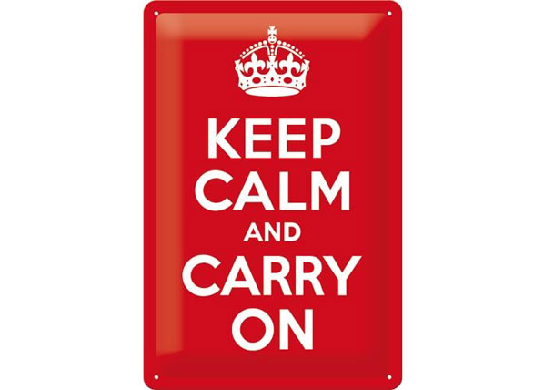 Retro metallijuliste KEEP CALM AND CARRY 20x30 cm