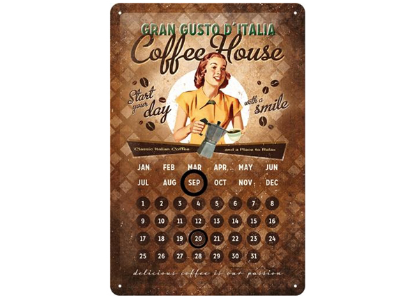 Retro metallijuliste Coffee House 20x30 cm