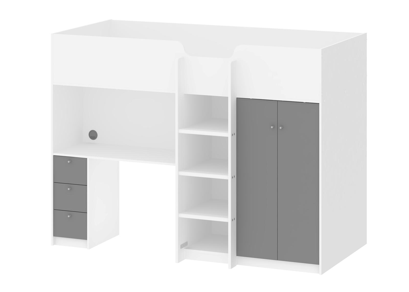 Parvisänky työpöydällä Lyon + patja Inter Pocket 90x200 cm