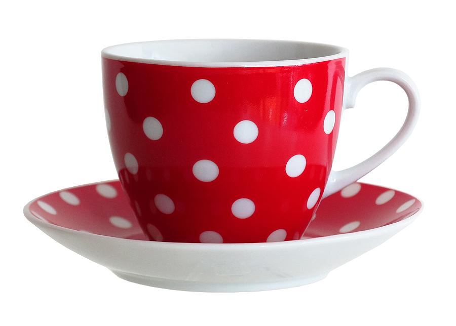 Kahvikuppi ja lautanen PIENI TÄPLÄ 200 ml, 6 kpl