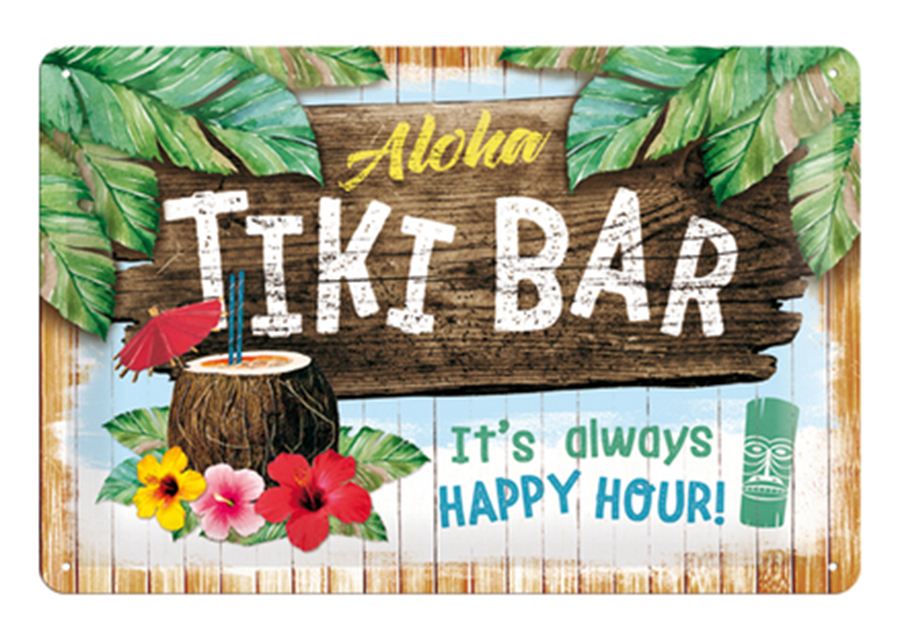 Retro metallijuliste Tiki Bar 20x30 cm